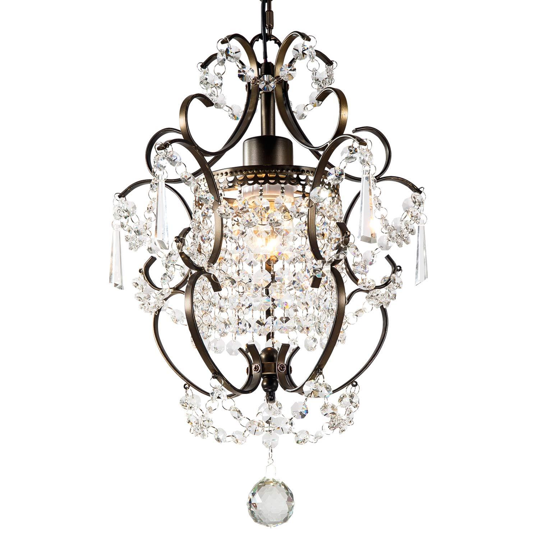 Gnds modern crystals chandelierssmall chandelier pendant lightingceiling lights fixtures for living room bedroom restaurant dining roombronze1 light