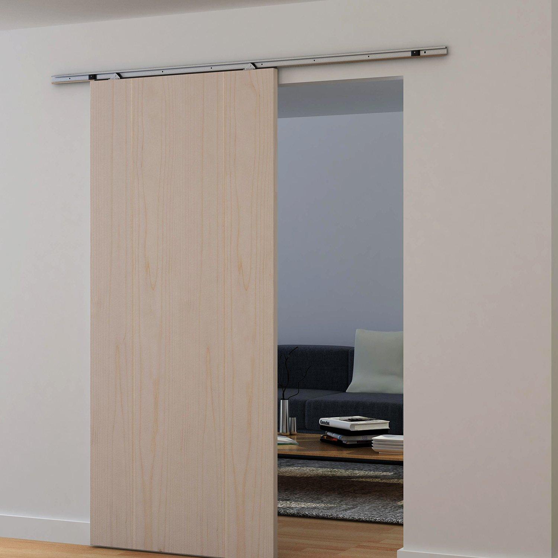 HOMCOM Modern Sliding Barn Door Closet Hardware Track Kit Track System Unit  For Single Wooden Door