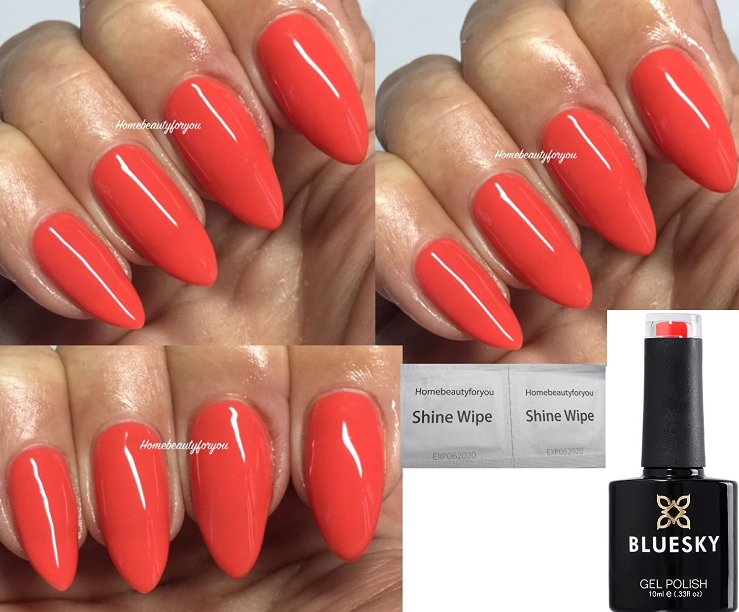 Bluesky Grenadine Deep Coral Orange BP13 Nail Gel Polish UV LED Soak ...