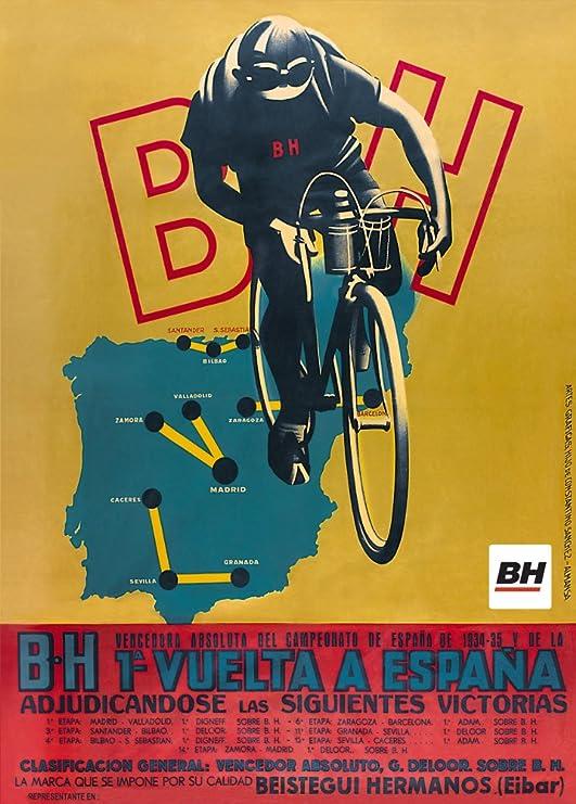 Vintage de ciclismo para la 1934 – 35 español b.h 1 una vuelta a Espana brillante de 250 gsm ART tarjeta A3 reproducción de póster: Amazon.es: Hogar