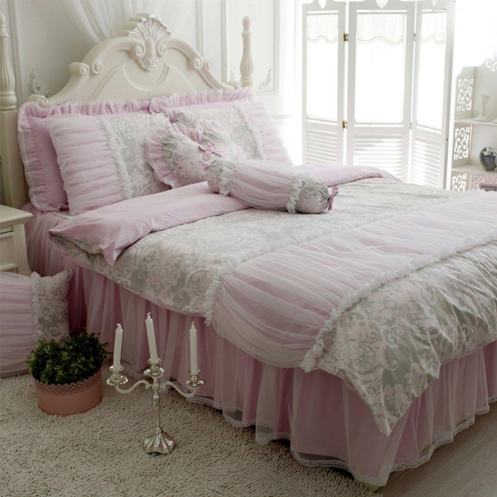 ワイドダブル 四点セット 綿100%&紗 ベッドカバセット(ベッドカバーベッドスカート枕カバー) (ワイドダブル 四点セット) ピンク 「姫様の夢」 番手40 B019XZQANS ワイドダブル 四点セット ジョウジボウ