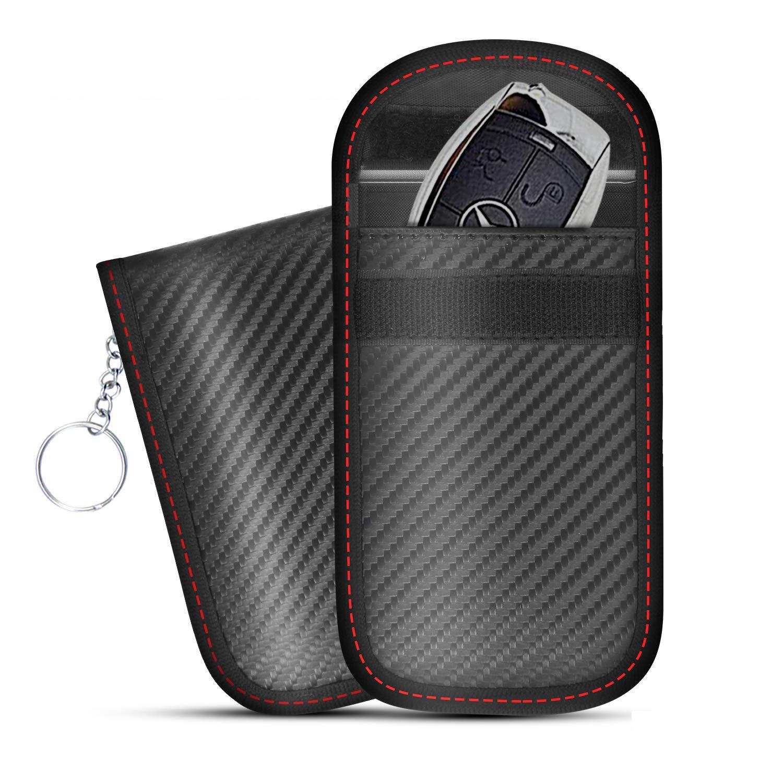 Faraday Autoschl/üssel-Signalblocker Schutztasche f/ür Autoschl/üssel Anti-Hacking-Geh/äuse Blocker RFID-Signalblockierung Karbonfaser-Textur Anti-Diebstahl-Tasche