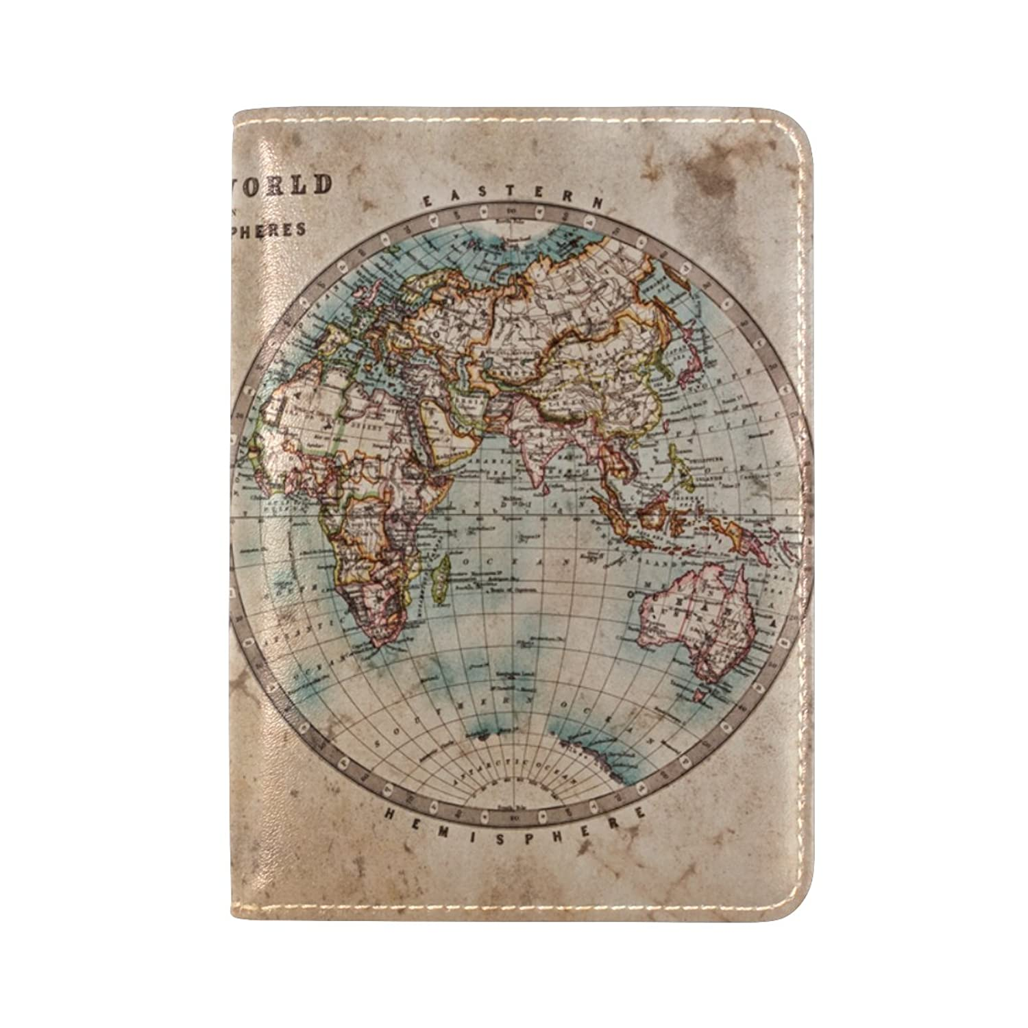 La random a genuine old stained world map passport holder cover la random a genuine old stained world map passport holder cover leather travel passport wallet case gumiabroncs Images