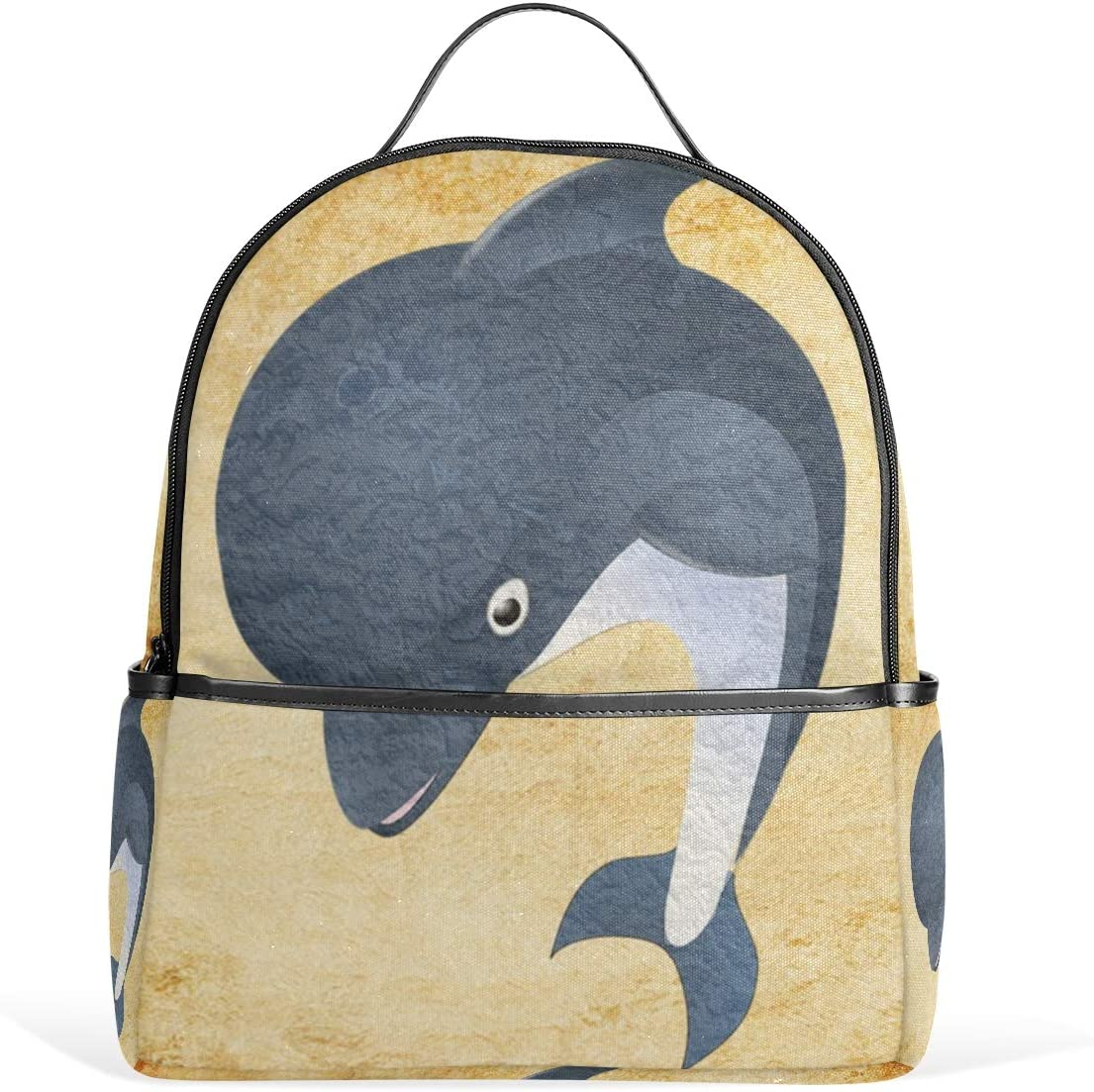 MUOOUM Smile Fish Dolphin Backpack Casual Daypack School College Travel Bag for Teens Boys Girls