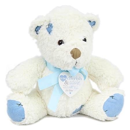Childrenu0027s Nursery Teddy Bear Doorstop With Heart Poem Pendant ~ Blue Boy