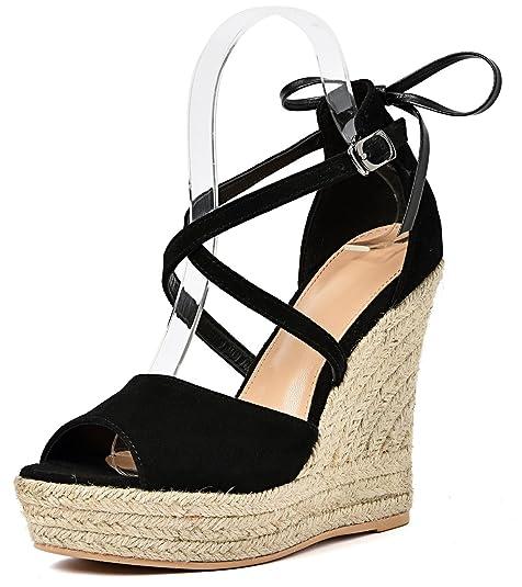 61e5c3508b247 SimpleC Zapatos de Cuña de La Hebilla de Tobillo con Punta Abierta para  Mujer
