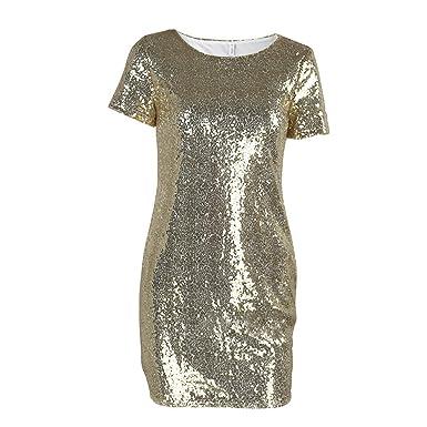 0b688311b7 Sequins Gold Dress 2019 Summer Women Sexy Short T Shirt Dress ...