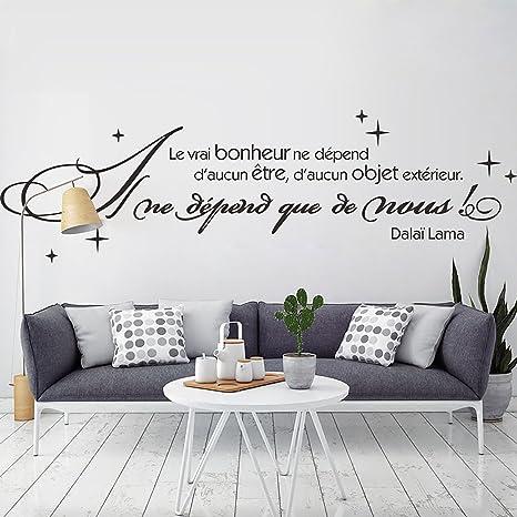 Decalmile Nero Scritte E Frasi Adesivi Murali Le Vrai Bonheur Ne