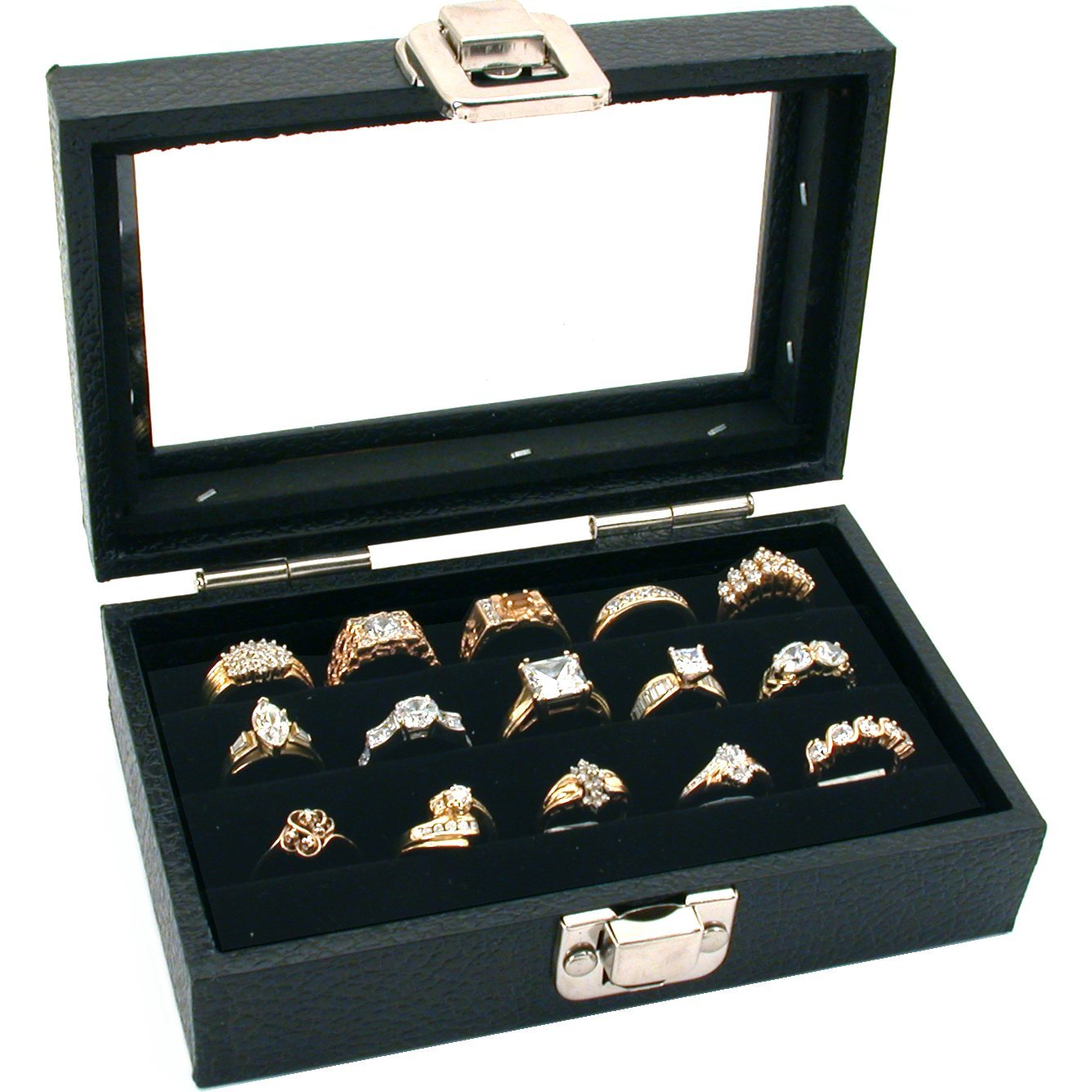 FindingKing 3 Row Ring Jewelry Display Storage Glass Top Wood New