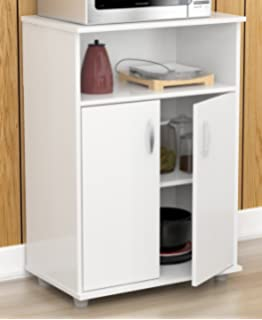 Inval MM 0207 Stationary Kitchen Carts, Laricina White