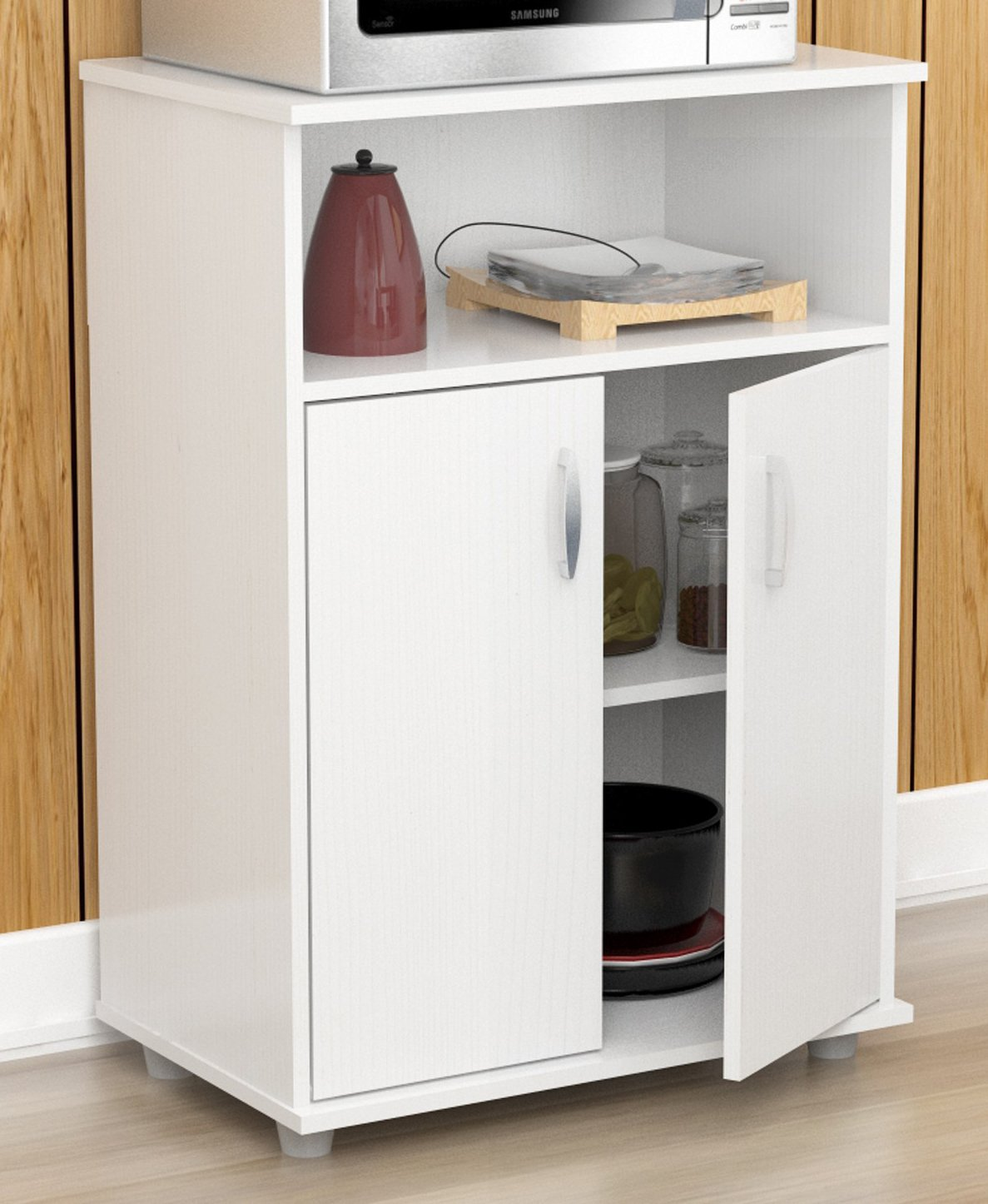 Inval MM-0207 Stationary Kitchen Carts, Laricina-white