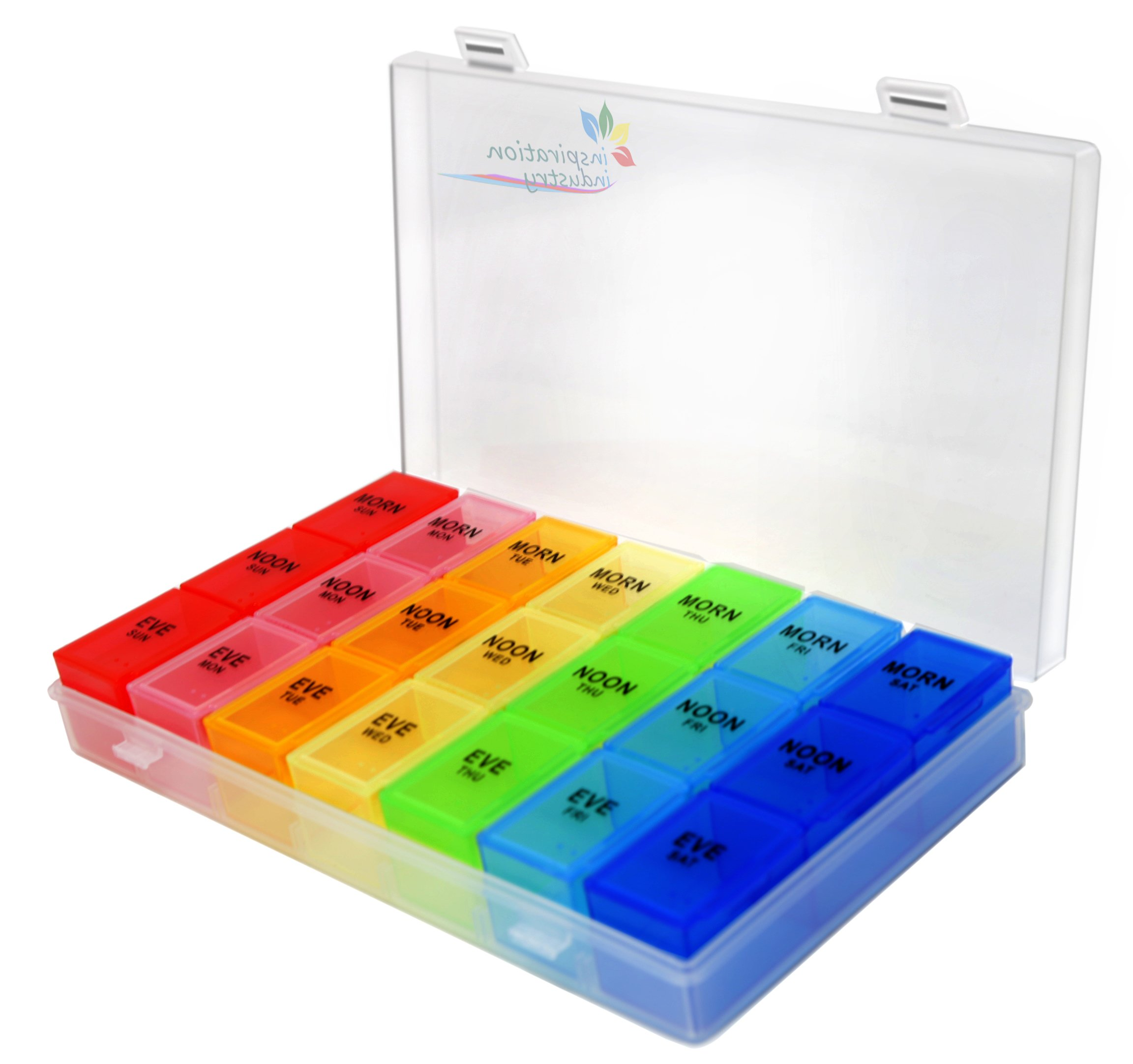 Rainbow Weekly Pill Organizer with Snap Lids| 7-day AM/PM | Detachable Compartments for Bigger Pills, Vitamin. (Rainbow)