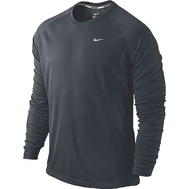 77090abd Nike Men's Long Sleeve Dri-Fit UV Miler Running Shirt Grey (Small): Amazon. co.uk: Clothing