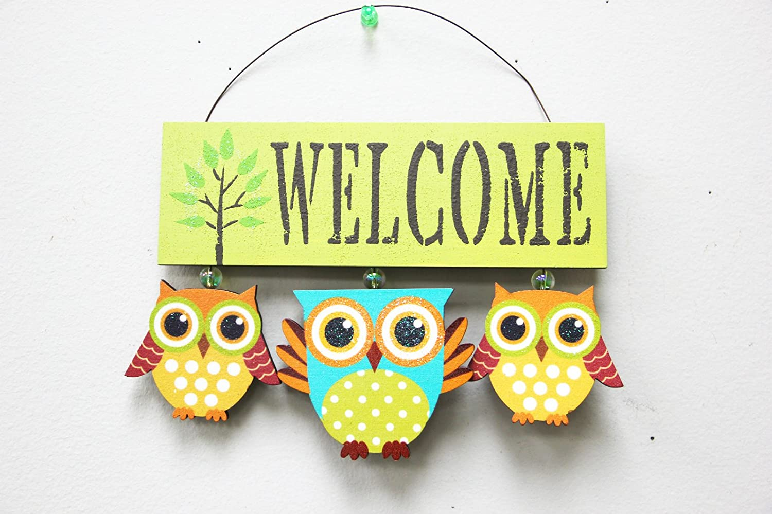 Vintage Designed Wood Owls Welcome Sign Handcrafted Hanging Owl Ornament Kitchen Office Living Room Garden Wall Art Decoration (Green)