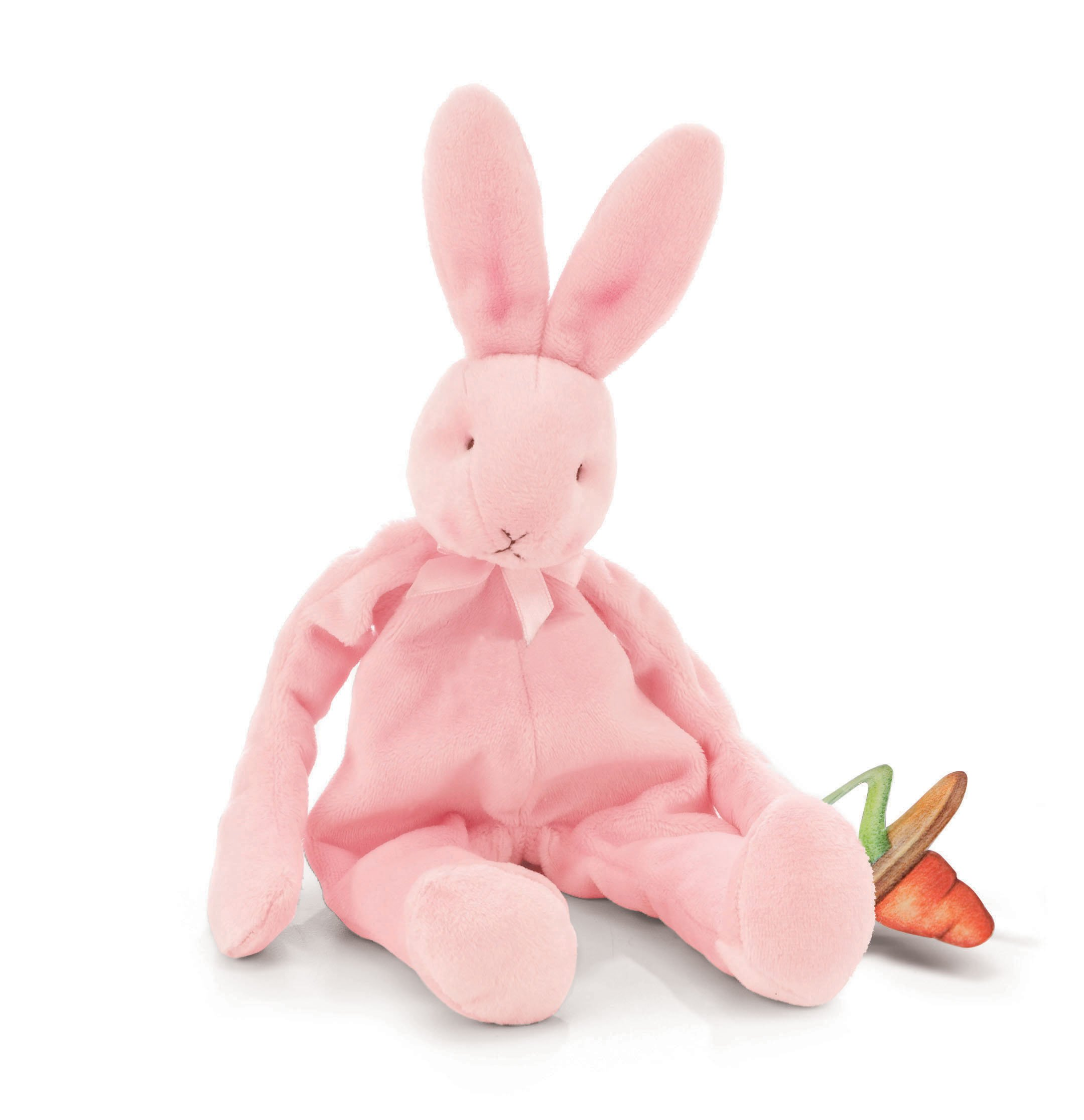 Bunnies by the Bay Silly Buddy Bunny, Pink with Pacifier Holder