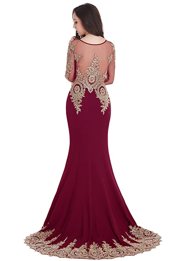 03ea3beeee3 Babyonline Trumpet Long Evening Dress Lace Beads Cap Sleeve Party Prom Gowns  at Amazon Women s Clothing store