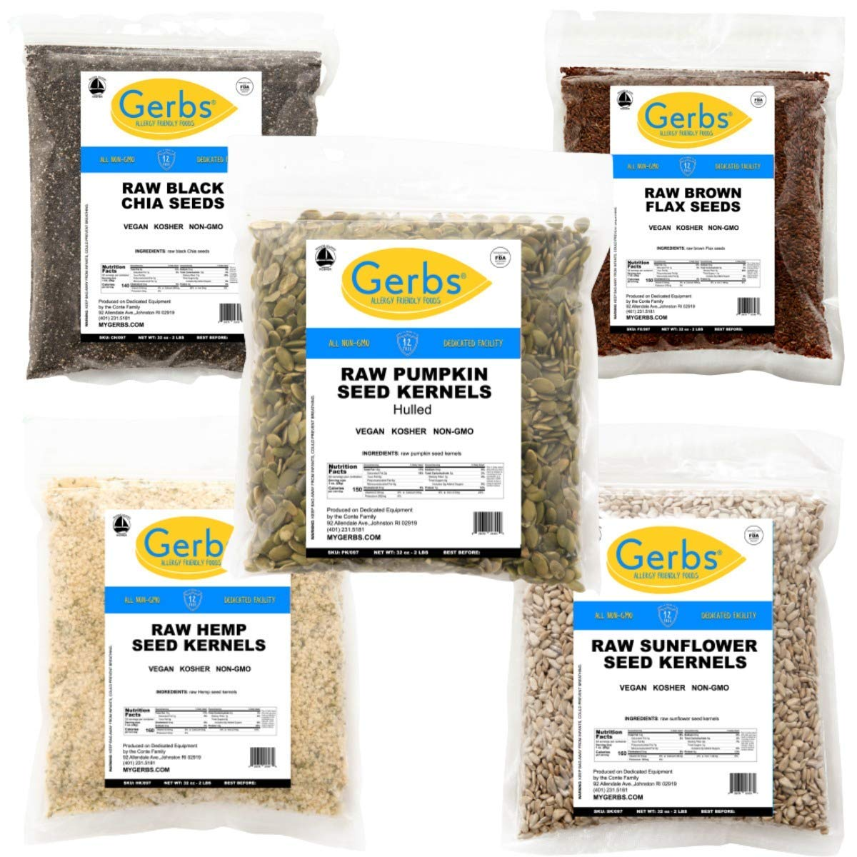 GERBS Raw Super Seeds Salad Mix One Variety Pack | 32oz Bags of Raw Pumpkin, Sunflower, Hemp Hearts, Black Chia and Brown Flax Seeds, Top 14 Food Allergen Free, Non GMO, Vegan, Keto, Paleo Friendly
