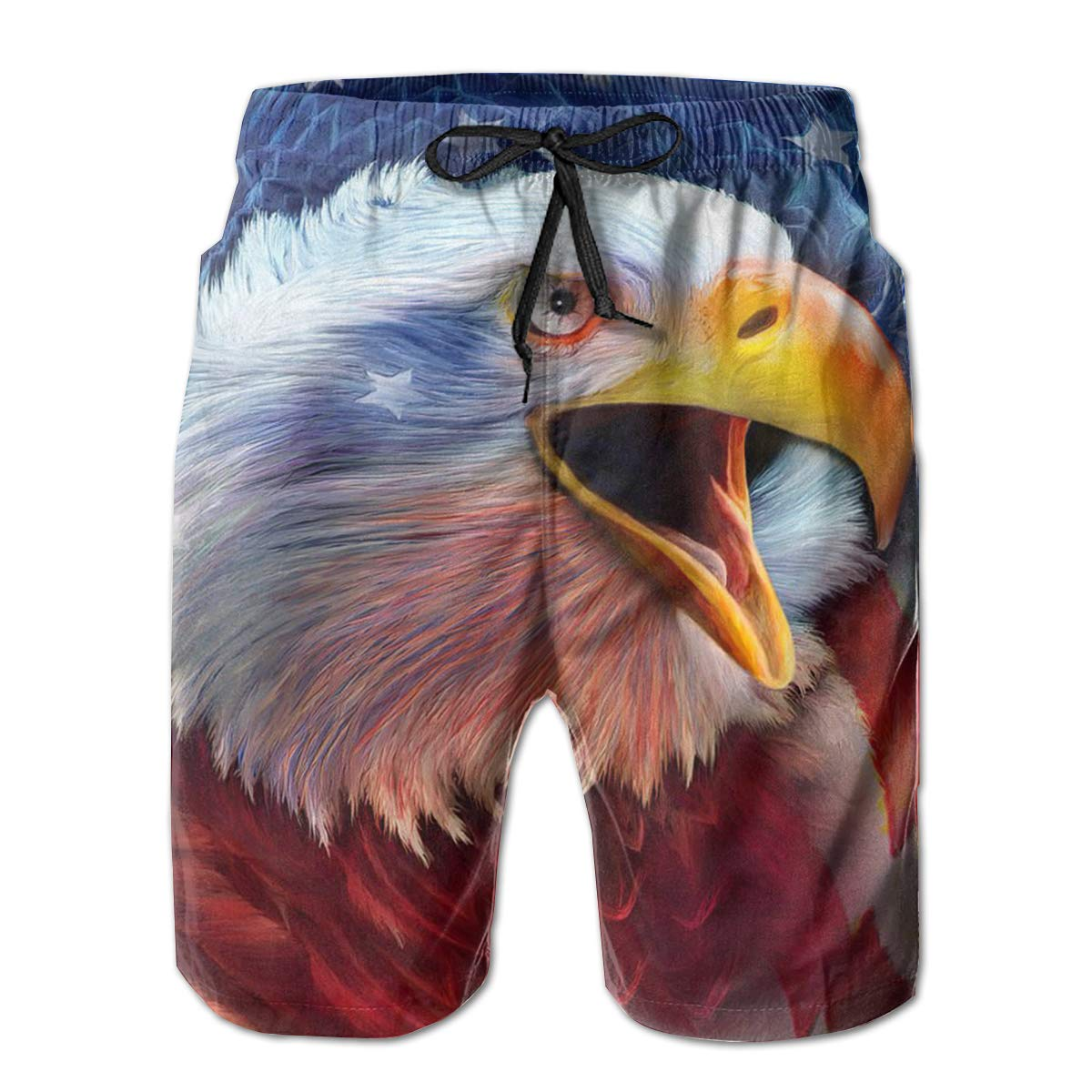 American Bald Eagle Mens Summer Casual Swim Trunks Shorts Quick Dry Swim Trunks with Pockets