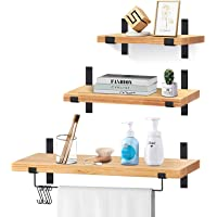 Deals on VEARMOAD Solid Wood Wall Storage Shelves Set of 3