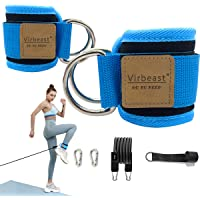 Virbeast Fitness Ankle Strap with Resistance Band Neoprene Padded Ankle Straps with Double D-Ring