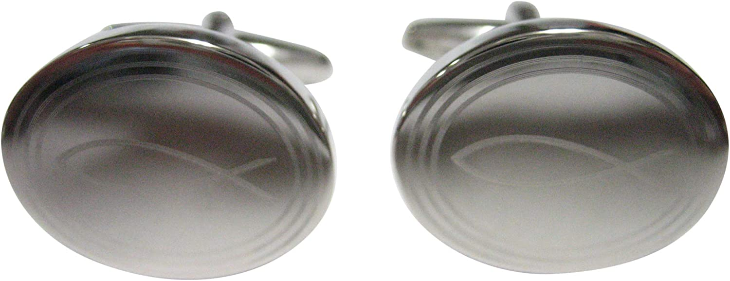 Kiola Designs Silver Toned Etched Oval Religious Ichthys Fish Cufflinks