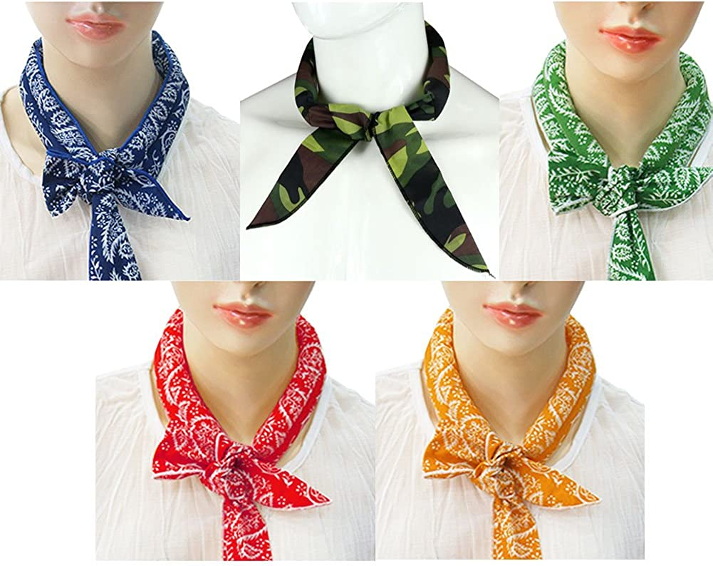 Pack of 5, The Elixir Ice Cool Scarf Neck Wrap Headband Bandana Cooling Scarf