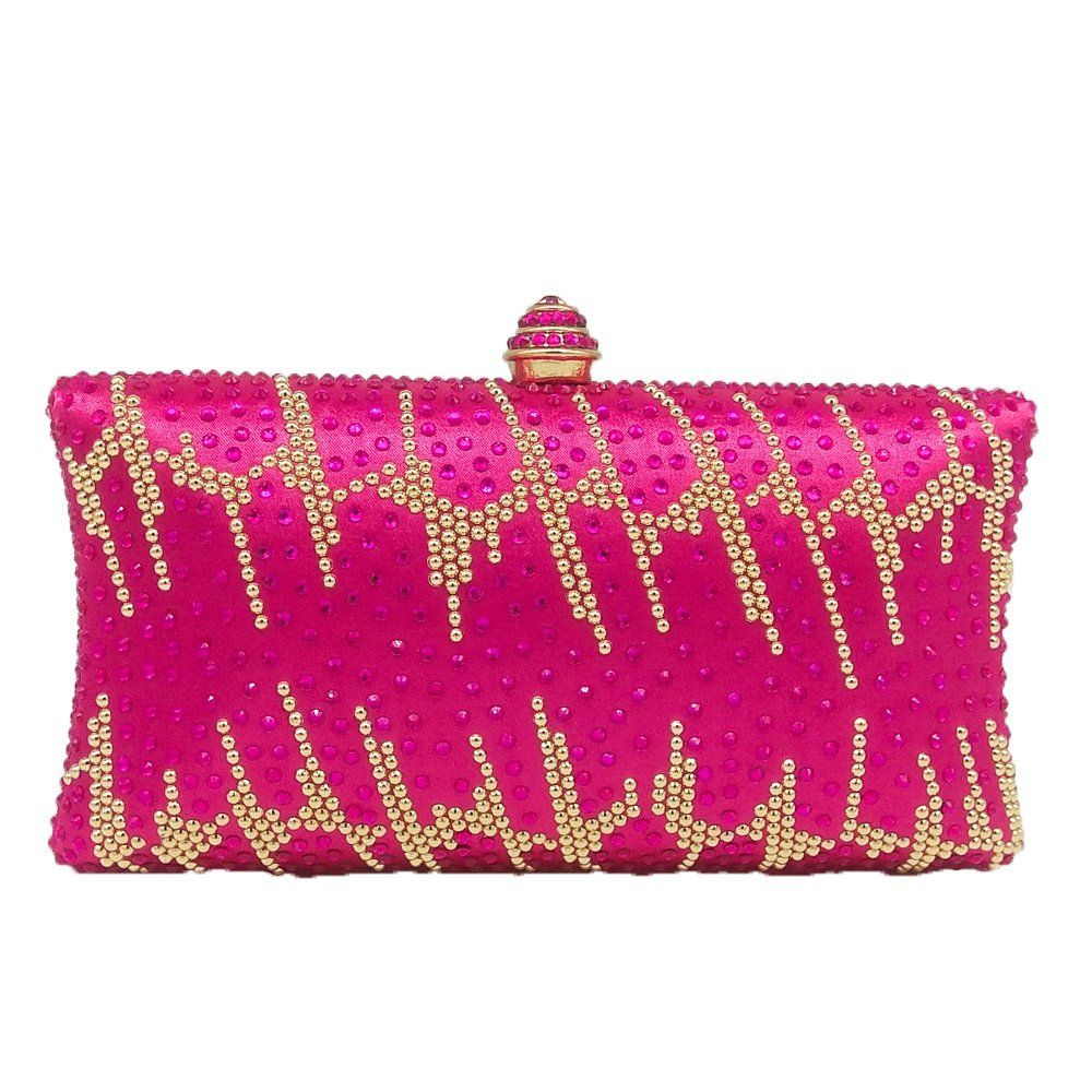 Graceful Striped Women Fuchsia Crystal Evening Bags Wedding Cocktail Clutch Handbag