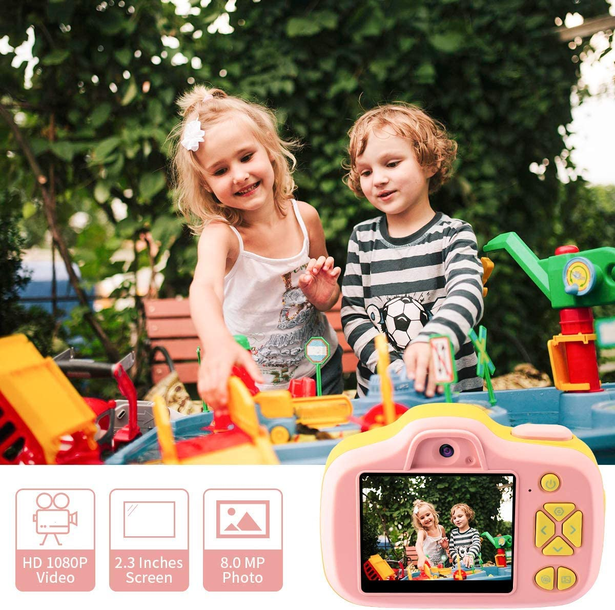 Children Toddler Mini Camera for Birthday Party Outdoor Gifts 2.3 Large Screen Selfie Video Digital Dual Cameras Kids Camera Gifts for Girls 4 5 6 7 8 Years Old