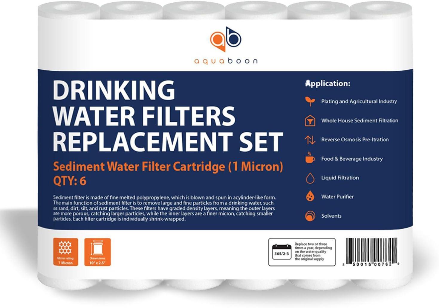 4-Pack Aquaboon 1-Micron Sediment Water Filter Cartridge