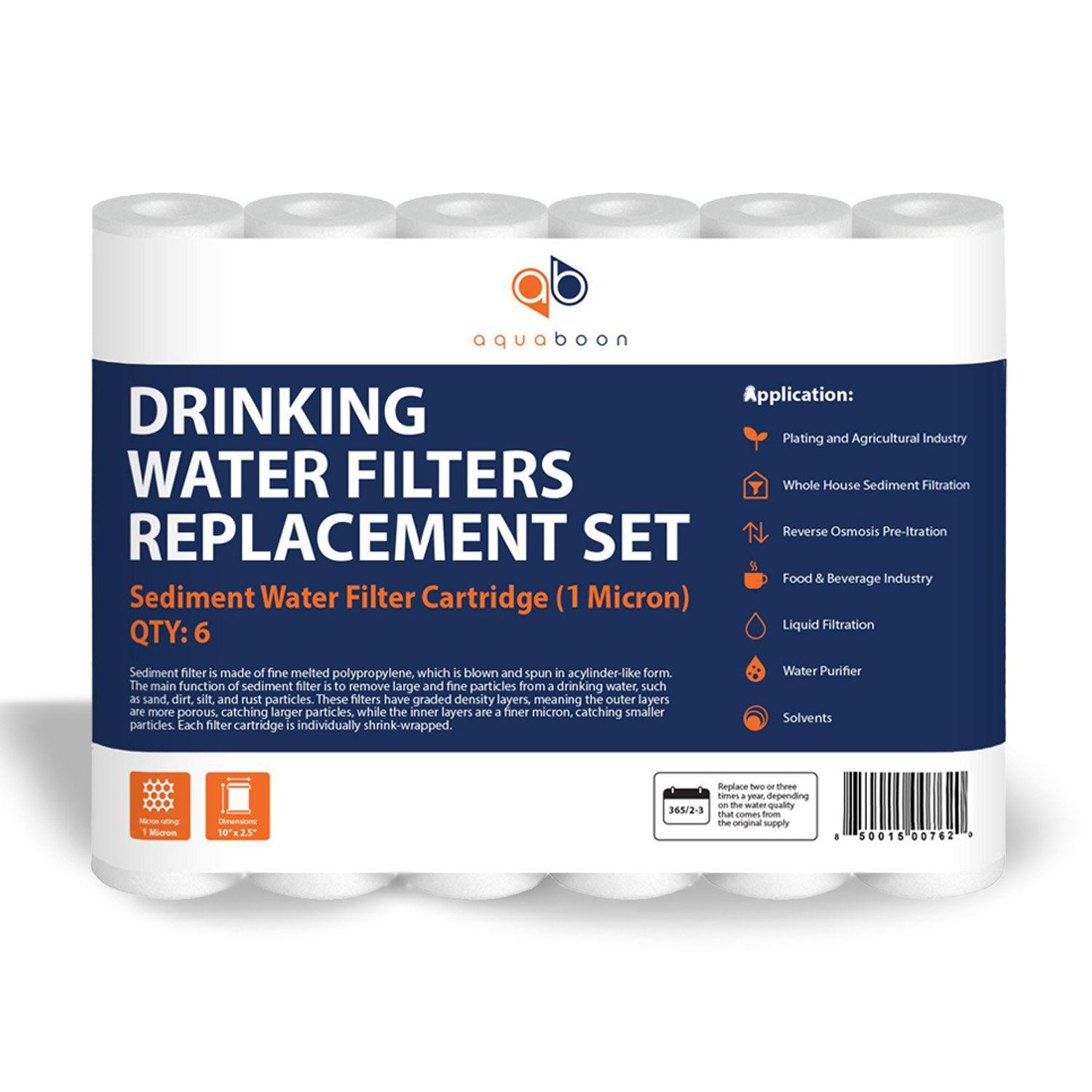 """Aquaboon 6-Pack of 1 Micron 10"""" Sediment Water Filter Replacement Cartridge for Any Standard RO Unit 
