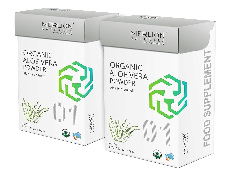 Organic Aloe Vera Powder by Merlion Naturals   Aloe barbadensis   454gm/ 16OZ/ 1lb   USDA NOP Certified 100% Organic (2 Pack of 227gm)