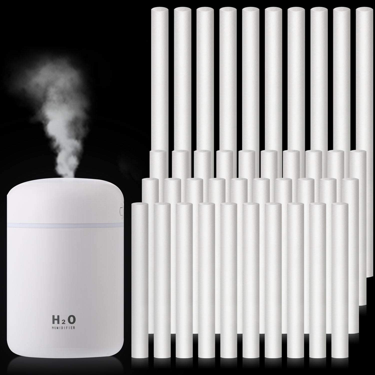 40 Pieces Humidifier Sticks Cotton Filter Refill Sticks Wicks Replacement for Portable Personal USB Powered Humidifiers in Office Home Bedroom, 2 Sizes