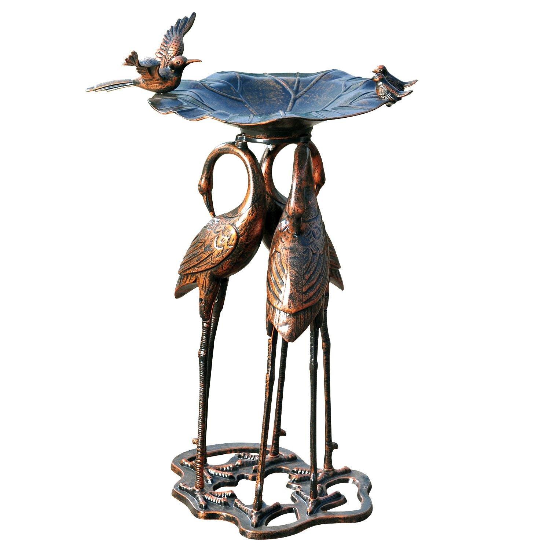34 in Three-Crane Birdbath for Yard or Garden - Antique Bronze Product SKU: BB14030