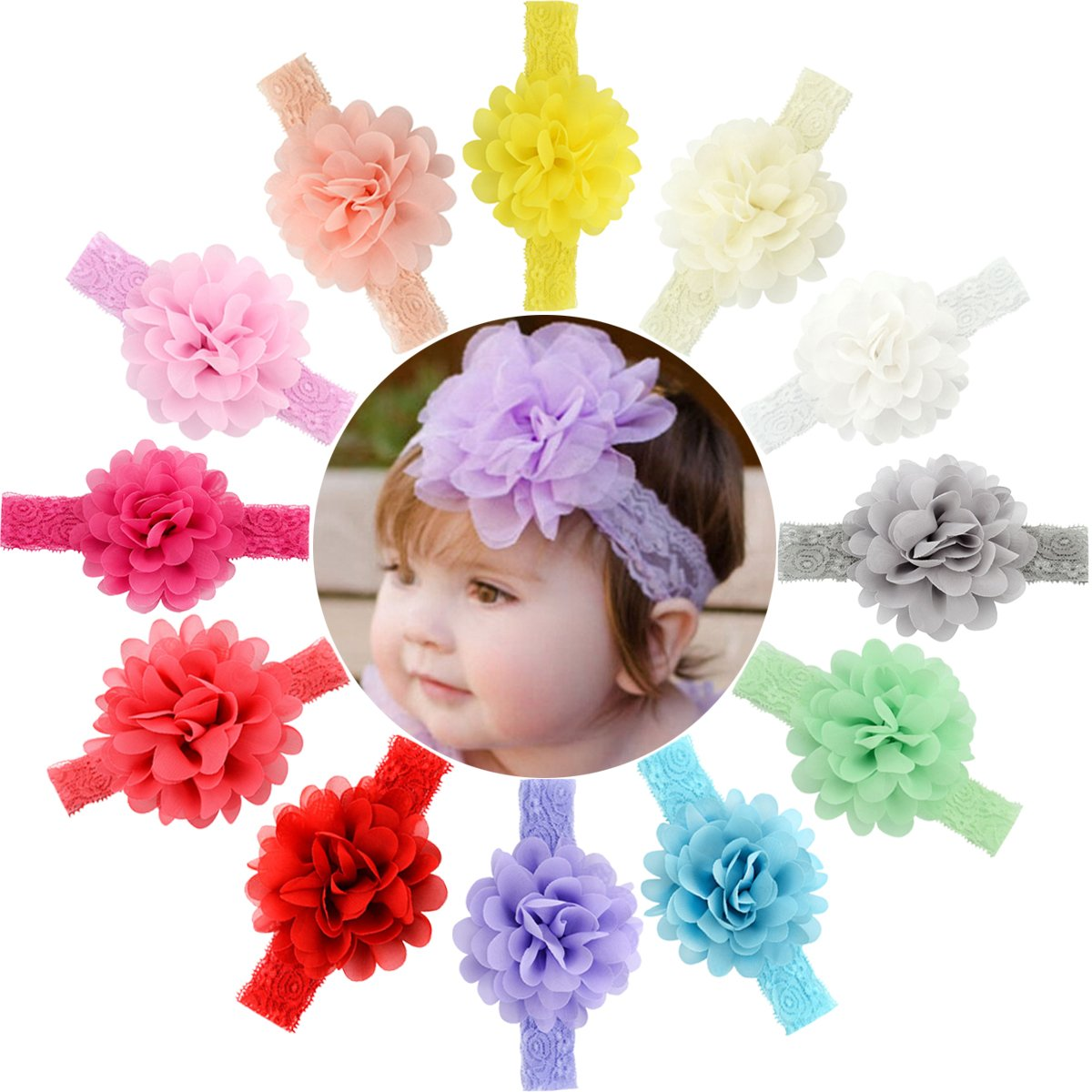 Cute Girl Baby Toddler Infant Flower Headband Hair Bow Band Accessories Ivory Hair Accessories Durable Service Clothing, Shoes & Accessories