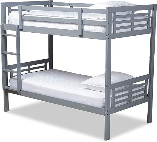 Amazon.com: Baxton Studio Bunk Bed, Single, Gray: Kitchen & Dining