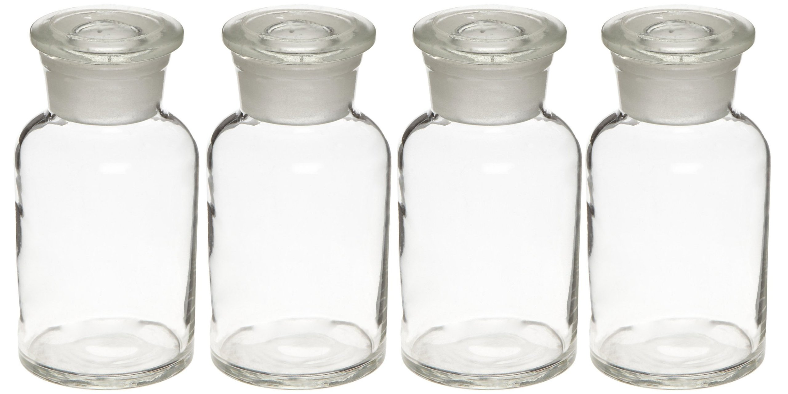 Set of 4 250ml (8.5oz) Glass Reagent Bottles - Wide Mouth Jars