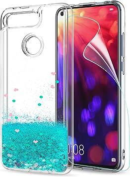 LeYi Funda Huawei Honor View 20 / V20 Silicona Purpurina Carcasa con HD Protectores de Pantalla,Transparente Cristal Bumper Telefono Fundas Case Cover para Movil Honor View 20 / V20 ZX Verde: Amazon.es: Electrónica