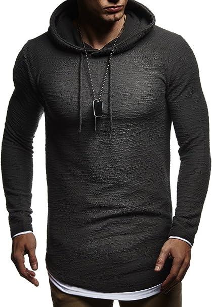 Leif Nelson Herren Kapuzenpullover Slim Fit Baumwolle Anteil Moderner weißer Herren Hoodie Sweatshirt Pulli Langarm Herren schwarzer Pullover Shirt