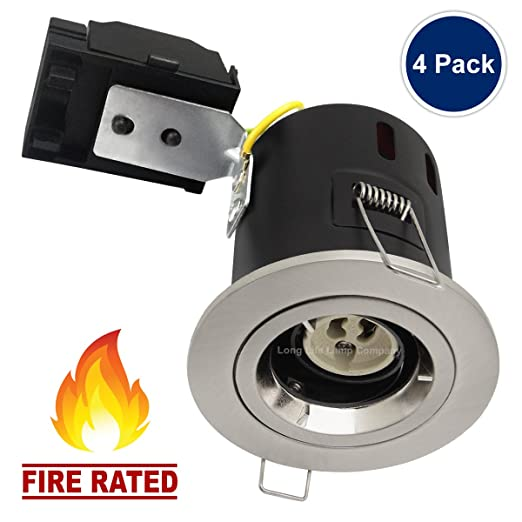 4 x Recessed Fire Rated Ceiling Downlight GU10 240v Brushed Chrome Twist and Lock Bezel