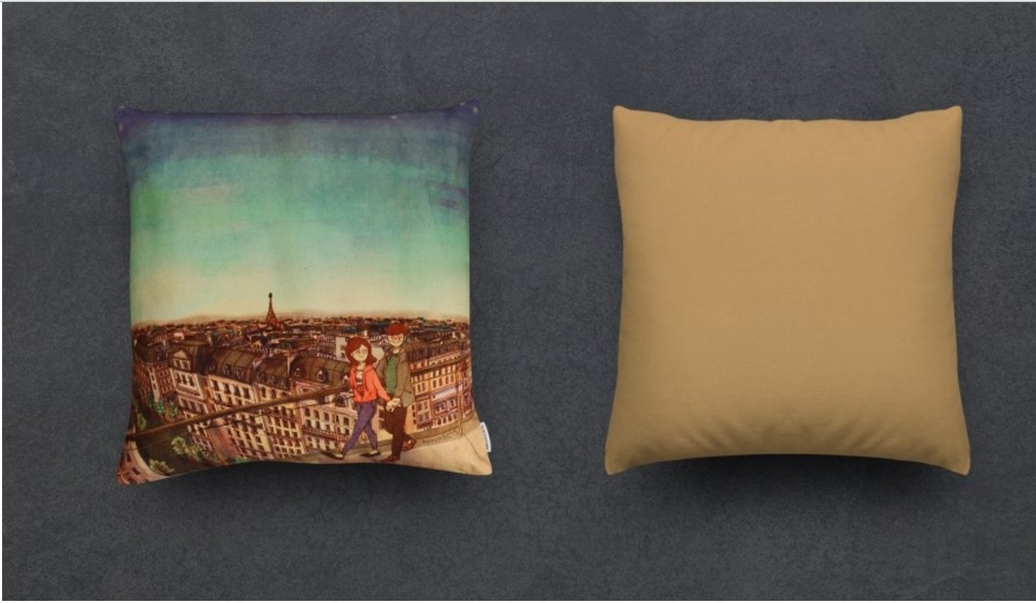 Puuung Illustration Cushion Love is Grafolio Couple Love Story Picture Present (45x45cm(17.7''x17.7'') Cushion, When the evening closed) by Puuung (Image #1)