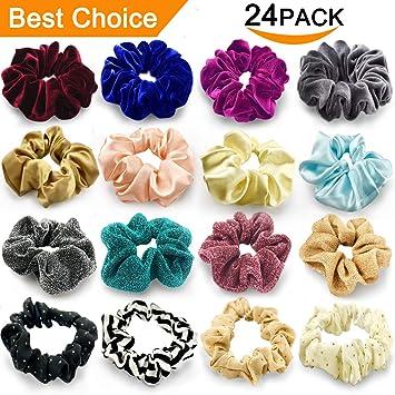 Amazon.com   24 Pcs Large Scrunchies for Hair Elastic Hair Bands ... b8c341db42a