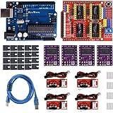 KeeYees 3Dプリンター CNCキット CNCシールドV3 GRBL v0.9互換 チュートリアル付き CNCシールドボード+開発ボード+DRV8825ステッピングモータードライバー +RAMPSメカニカルエンドショップスイッチ ジャンパーキャップ付き USBケーブル付き
