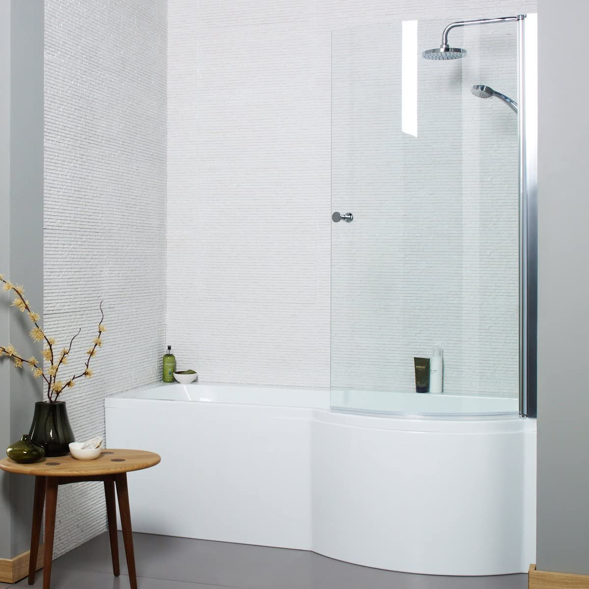 Adapt p-shaped ducha bañera con Panel de pantalla curva 1700 x 850 mm, Mano Derecha: Amazon.es: Hogar
