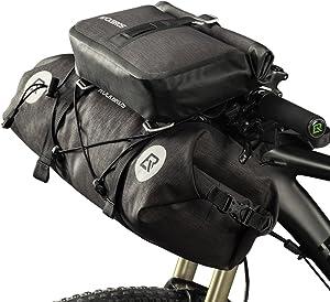ROCK BROS Waterproof Bike Packing Front Handlebar Bags 2 Dry Packs for MTB Road Bicycles Bikepacking Tools Gear Accessories 19-20L