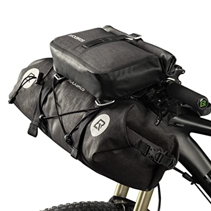 ROCK BROS Waterproof Bike Packing Front Handlebar Bags 2 Dry Packs for MTB Road Bicycles Bikepacking Tools Gear Accessories 19-20L