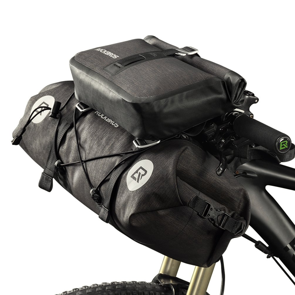 RockBros Bikepacking Bag 100% Waterproof Bike Bags 2 Intergrated MTB Handlebar Cycling Tube Pouch Panniers Accessories Quick Release Frame Bags 19-20L