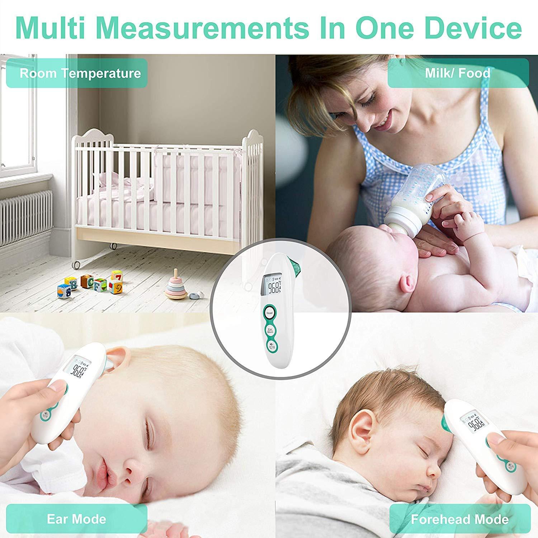 Stirnthermometer Digital Thermometer mit Multifunktions Tricolor Fieberwarnung f/ür Baby und Erwachsene mit Sofortiges Lesen Speicherfunktion Fieberthermometer Infrarot Ohrthermometer Lila