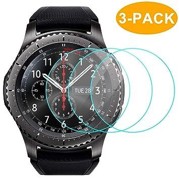Protector de Pantalla Samsung Gear S3 (3 Paquetes), Caracas 9H dureza y Burbuja