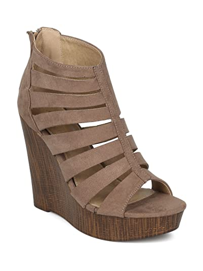 befba44c2a3f Alrisco Women Faux Suede Caged Faux Wooden Platform Wedge Sandal HG93 -  Taupe Faux Suede (