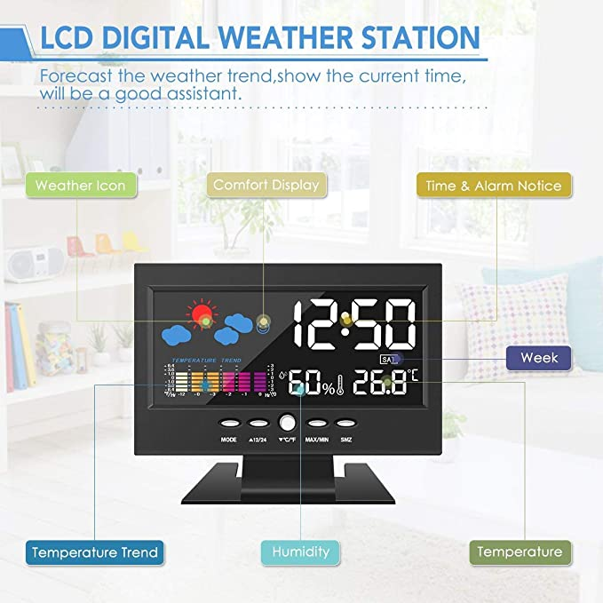DIGOO Higrómetro termómetro, estación meteorológica a Color, Reloj Despertador Digital con función de repetición, Control por Voz, Pantalla LED: Amazon.es: ...